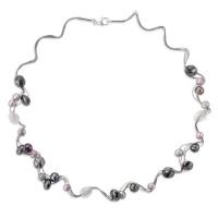 Náhrdelník s perlami, kryštálmi a hematitmi