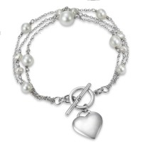 Strieborný náramok s perlami