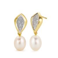 Zlaté náušnice s diamantmi a perlou